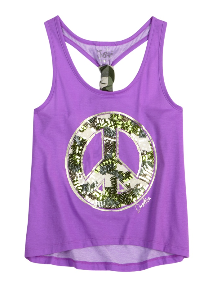 Sequin Icon Camo Tank | Fashion Graphics | Graphic Tees | Shop Justice  --- BURNOUT WITH SHELF SPORT BRA (2fer)