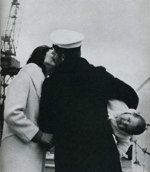 1940s - After 14 months at sea on Her Majesty's frigate Whitby, seaman Anthony Bennett meets his baby for the first time.