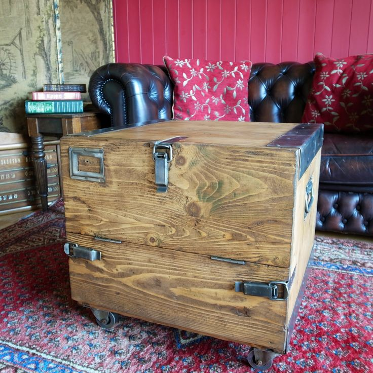 VINTAGE INDUSTRIAL CHEST Storage Trunk Coffee Table Mid Century Military Chest Repurposed Retro Entertainment/Gaming Unit Tv Stand by VintageTrunksChests on Etsy