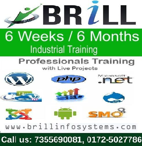 Brill Infosystems offers the perfect time and opportunity to explore your technical skills, values and interests. Get six week #training in Chandigarh and become able to secure your career in a right way!