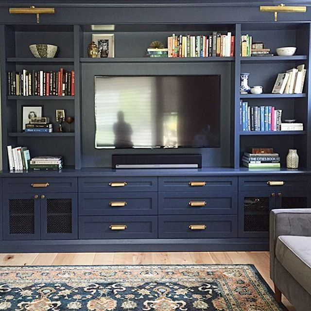 Monday Blues Painting Out This Custom Builtin Designed By Me In A Dark Colour Benjaminmoore Hale Navy Built In Tv Cabinet Family Room Walls Tv Built In