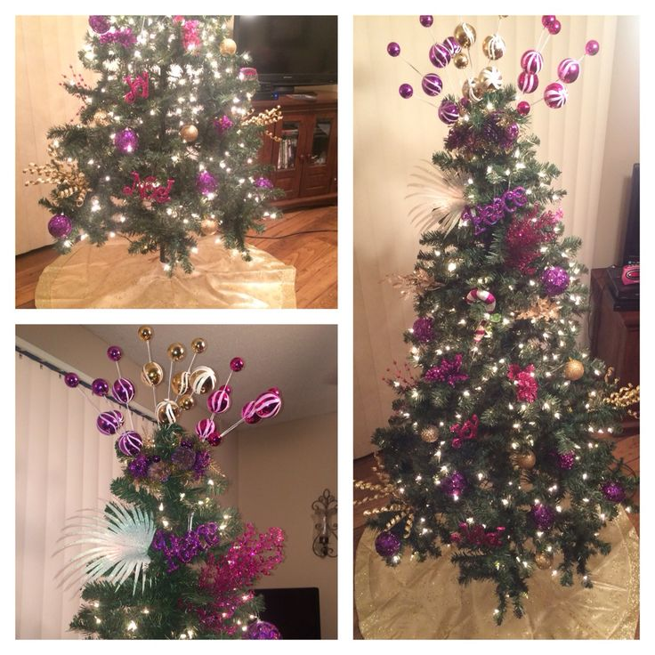 Pink purple and gold decorative christmas tree pre lit for Green and gold christmas tree