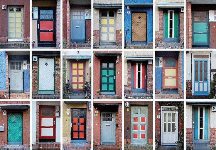 """Doors of the UNESCO-World heritage Hufeisensiedlung in Berlin - neighbourhood of """"Tautes Heim"""""""