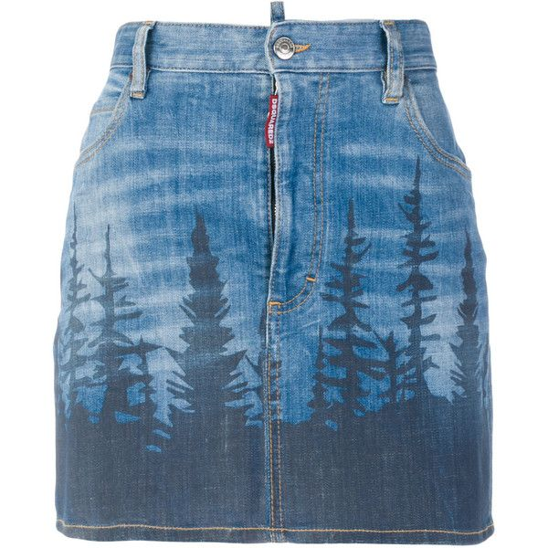 70423b80bdc Dsquared2 forest print mini denim skirt (12 405 UAH) ❤ liked on Polyvore  featuring