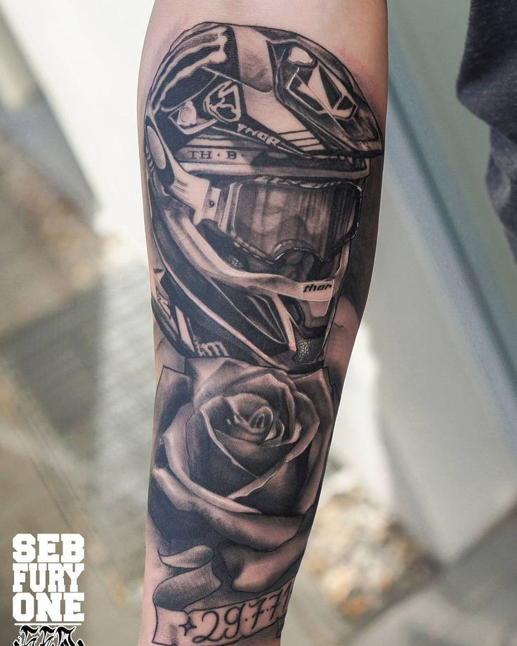 #motocross #tattoo by SebFuryOne @sebfuryone  Nomad / Germany  Booking Inquiries:   seb@coco-colours.de #realistic #rose #mx #blackandgreytattoo #instagood #instadaily #tattoos #tattoooftheday #tatuador #supportgoodtattooers #tattoosofinstagram #tattoocloud @hell_city @tattoothelou