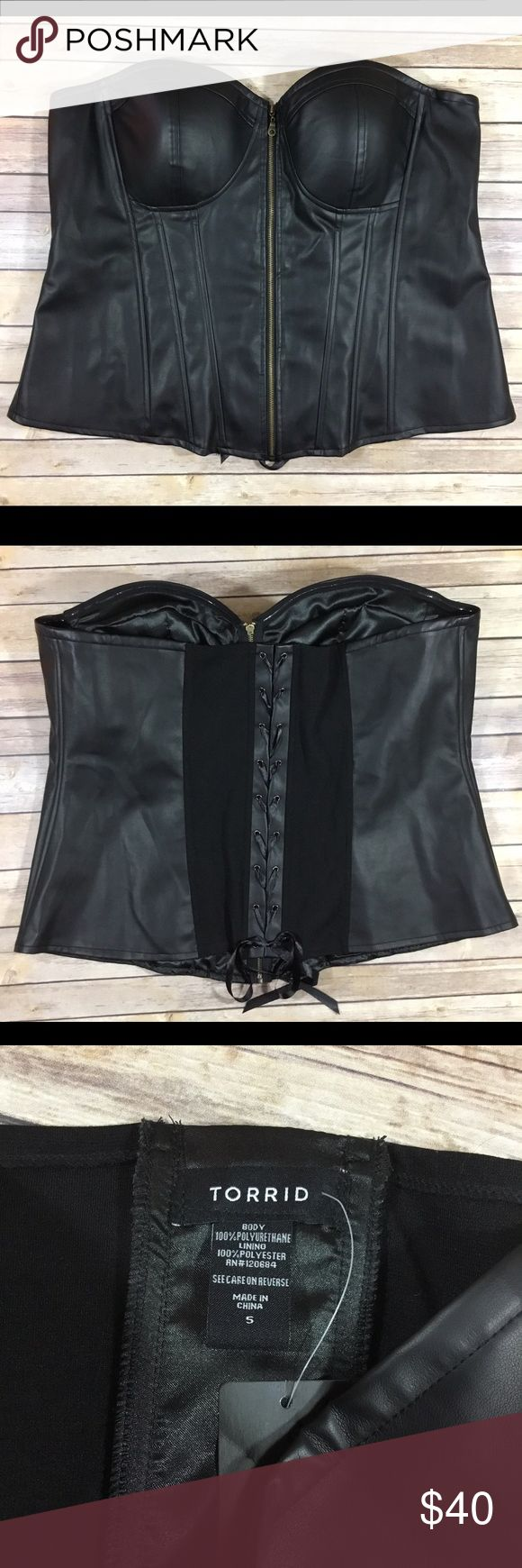 "Torrid NWT Women's Black Corset Bustier 914 Torrid NWT Women's Black Corset Bustier. New With Tags. Plus Size 5X/28. 100% Polyester.  Chest - 49"" Waist - 47"" Hips - 53"" Length in Back - 16"" Length of Zipper - 19"" torrid Intimates & Sleepwear Shapewear"