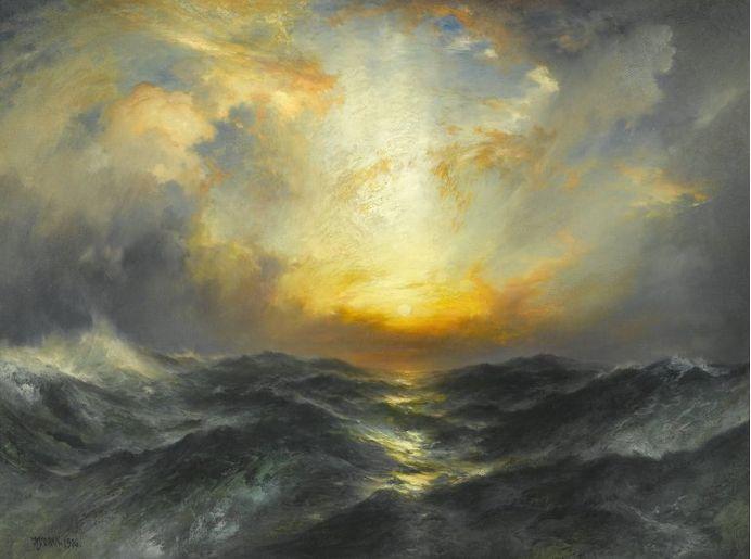 Thomas Moran, Sunset at Sea, 1906