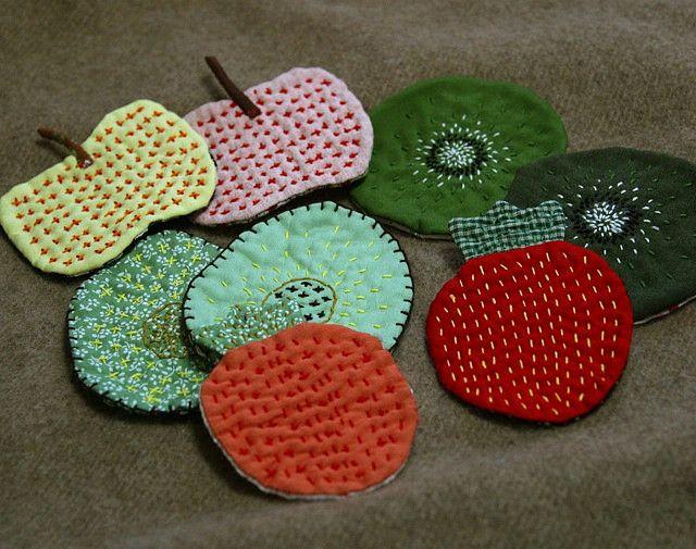 Sashiko stitch fruits. #HandmadeCharlotte