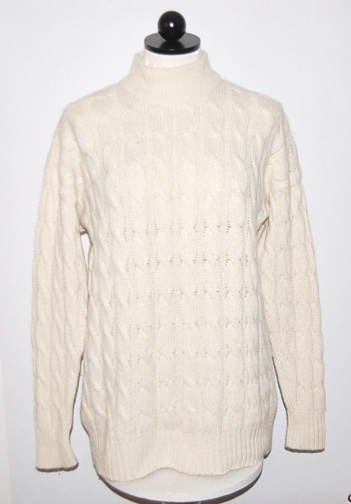 330624fbfb Neiman Marcus 100% Cashmere Heavyweight 8ply Ivory Turtleneck Sweater M