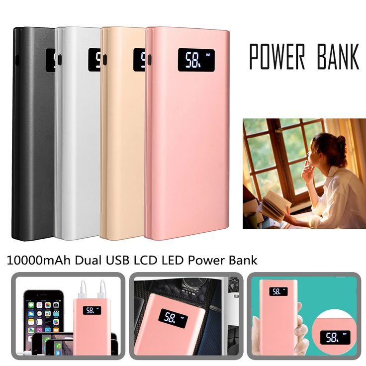20000mAh Dual USB LCD Power Bank Mobile Phone External Battery Charger