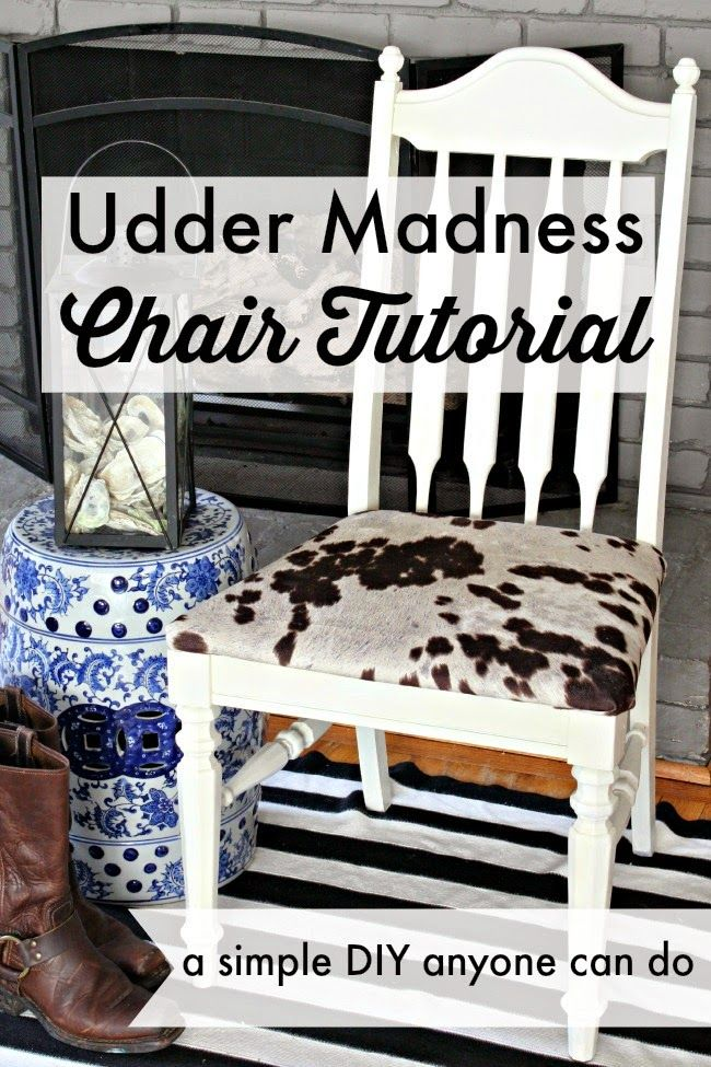 Easy chair DIY that anyone can do! What a huge difference, you won't believe the before. A little faux cow hide fabric goes a long way with this makeover!