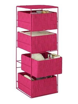 Storage drawer unit pink #bathroom furniture 4 make up basket #tower boxes #bedro,  View more on the LINK: http://www.zeppy.io/product/gb/2/121830330296/