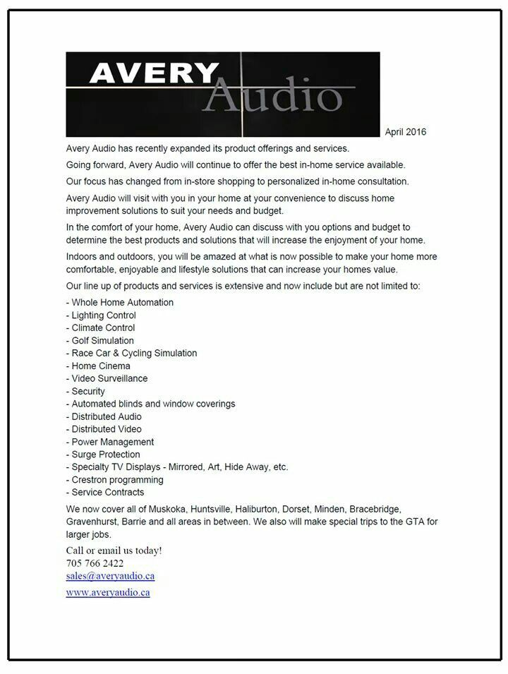Avery Audio has expanded its line up of products and services for 2016.
