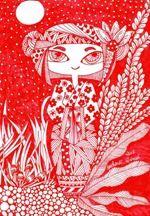566 Zentangle Red Kokeshi