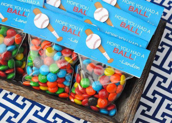 "Baseball Party favors - printable ""I hope you had a ball!"" baseball candy bag labels by Memorable Moments Studio"