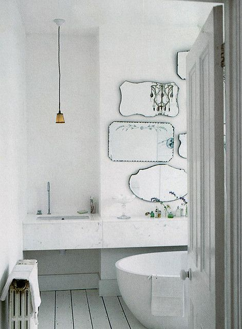 A mirror wall in the bathroom.