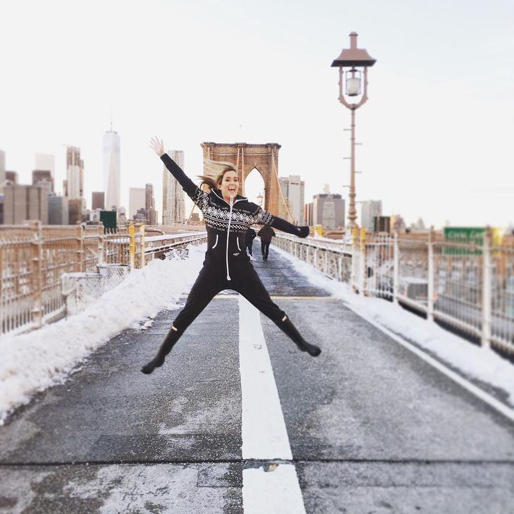 Feeling Happy ? @meredithsf is wearing the Lusekofte Jumpsuit on the Brooklyn Bridge - New York