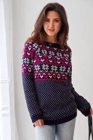 Ciepły sweter w ciemnoróżowe wzory