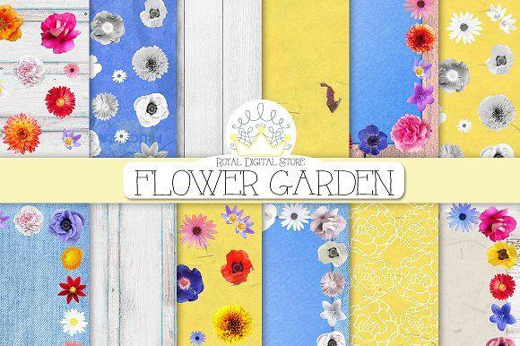 FLOWER digital background by RoyalDigitalStore on @creativemarket #flower #floral #digital #background #planner #scrapbook #garden #yellow #blue