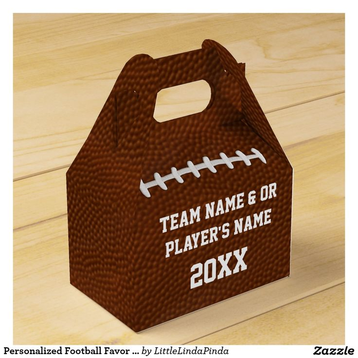 Personalized Football Favor Boxes in Bulk or buy just 10 or more. Type in TEAM NAME and or Each PLAYER'S NAME and YEAR or Jersey Number. CLICK: http://www.zazzle.com/personalized_football_favor_boxes_in_bulk-256021551575167638?rf=238147997806552929  call Linda for more personalized football party favor boxes. Linda 239-909-9090