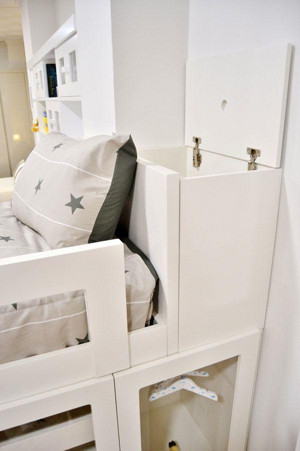 El arcón tipo tren es un espacio de almacenamiento extra en el dormitorio juvenil o infantil, facilitando el guardado de juguetes y ropa de cama.