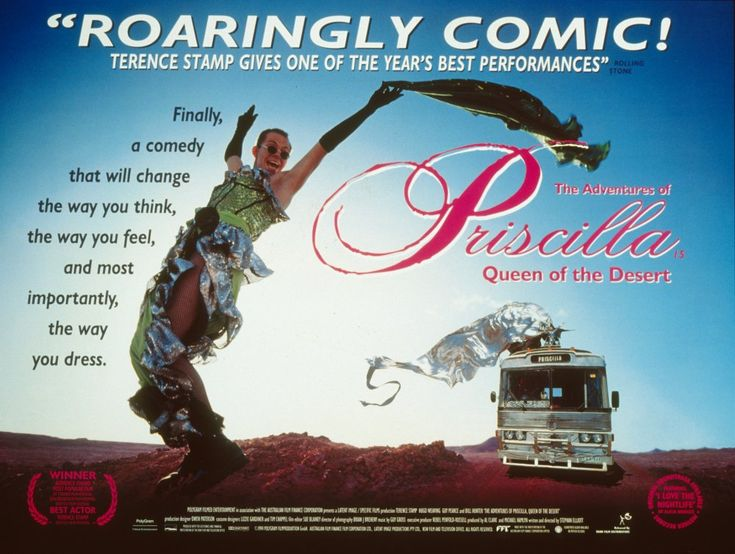 The Adventures of Priscilla, Queen of the Desert (1994) | Director Stephan Elliott. Cast against type, Stamp plays Bernadette, a recently bereaved transsexual who teams up with two diametrically different drag queens (Guy Pearce and Hugo Weaving) and makes the long journey – aboard the ancient titular bus – from Sydney to Alice Springs, there to perform their outrageously camp cabaret act.