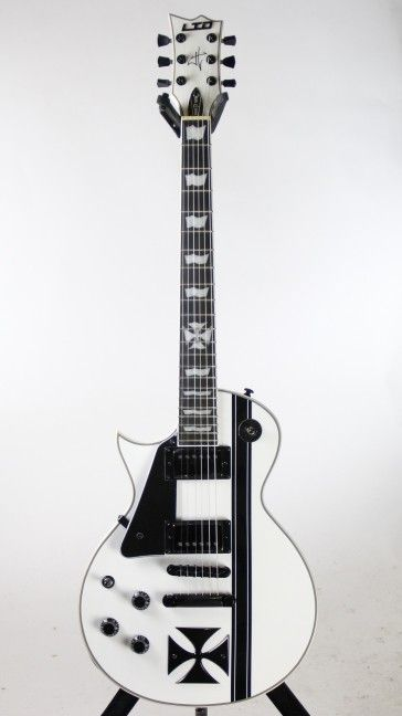 Left Handed! ESP LTD Iron Cross Snow White James Hetfield Electric Guitar w/ Case