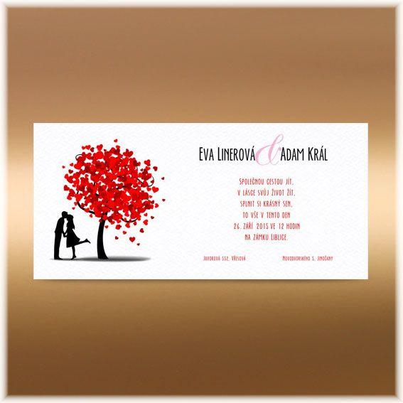 Svatební oznámení strom ze srdíček SK157