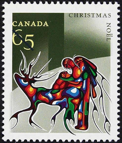 Postage stamp issued 2002 - Winter Travel by Aboriginal artist Cecil Youngfox (Ojibwe/Metis)