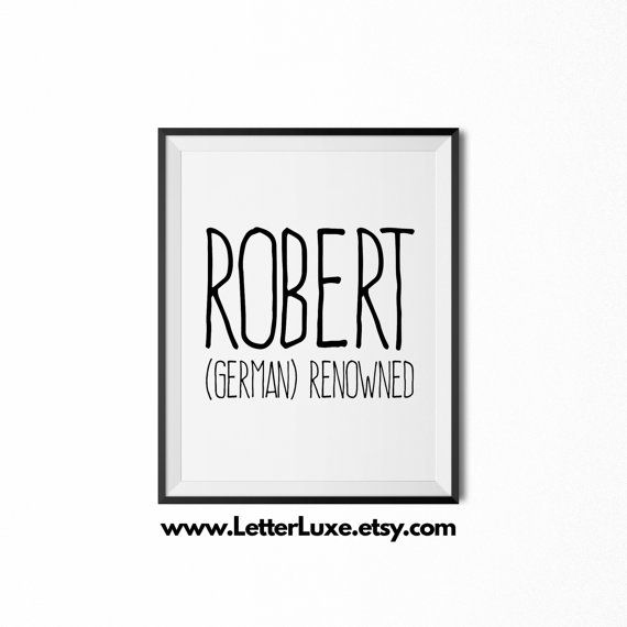 Robert Name Meaning Art  Printable Baby by LetterLuxePrintables