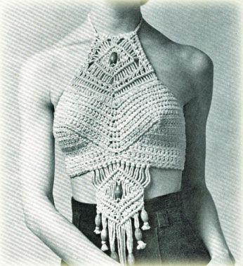 macrame: Fashion, Macrame Clothing, Google, Macrame, Halter Tops, Style, Knot