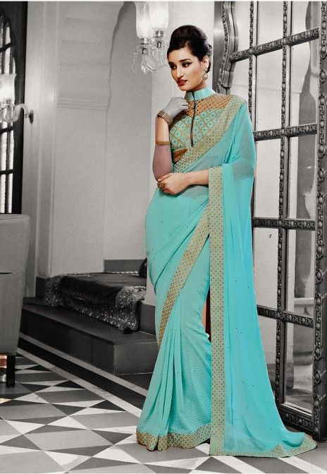 Lovely Turquoise Embroidered Georgette Party Wear Saree