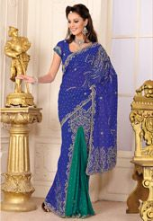 Blue and Green Faux Georgette Lehenga Style Saree with Blouse