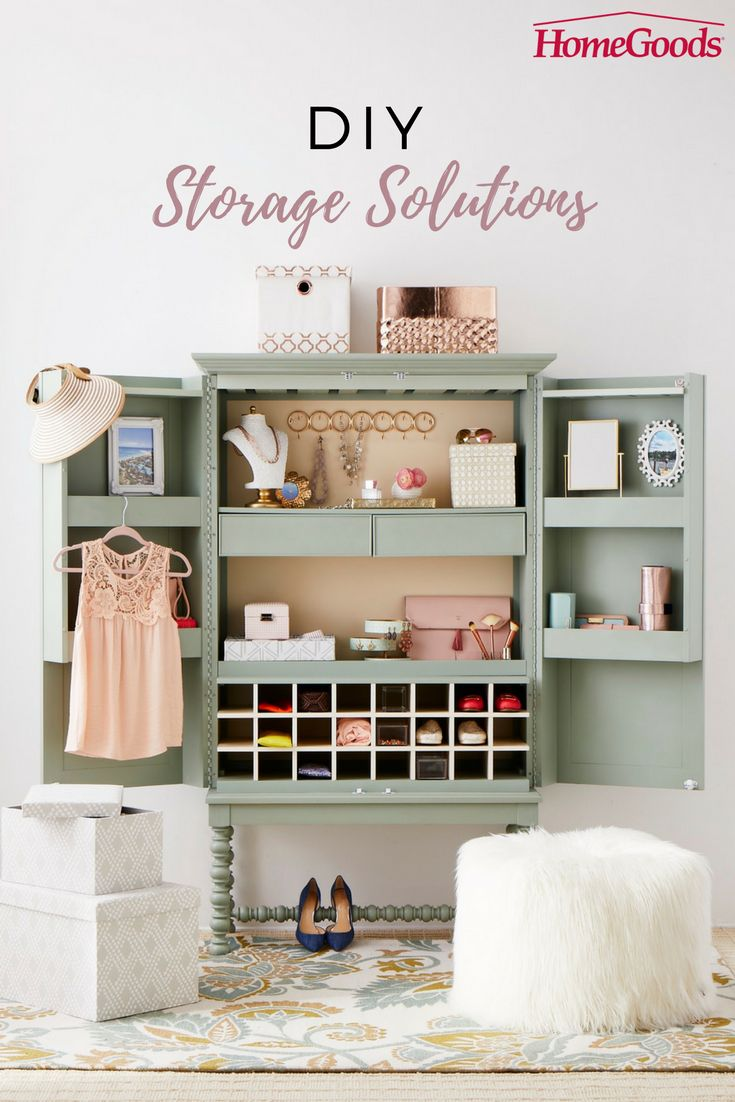Do it yourself storage solutions make organizing and cleaning a lot more fun – and functional!  Store beauty, jewelry, accessories and more in decorative boxes, containers and larger organizational pieces that completely take clutter to task.  Head to HomeGoods to find your perfect storage solution. Find a store now.