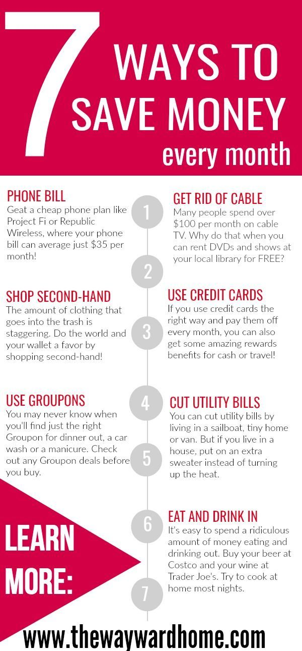 These are 7 simple ways I save money every month, from my phone bill, to cutting cable, to cooking and eating in. Check out these ways to save hundreds of dollars every month.   living on a budget   budget living   getting out of debt via @thewaywardhome