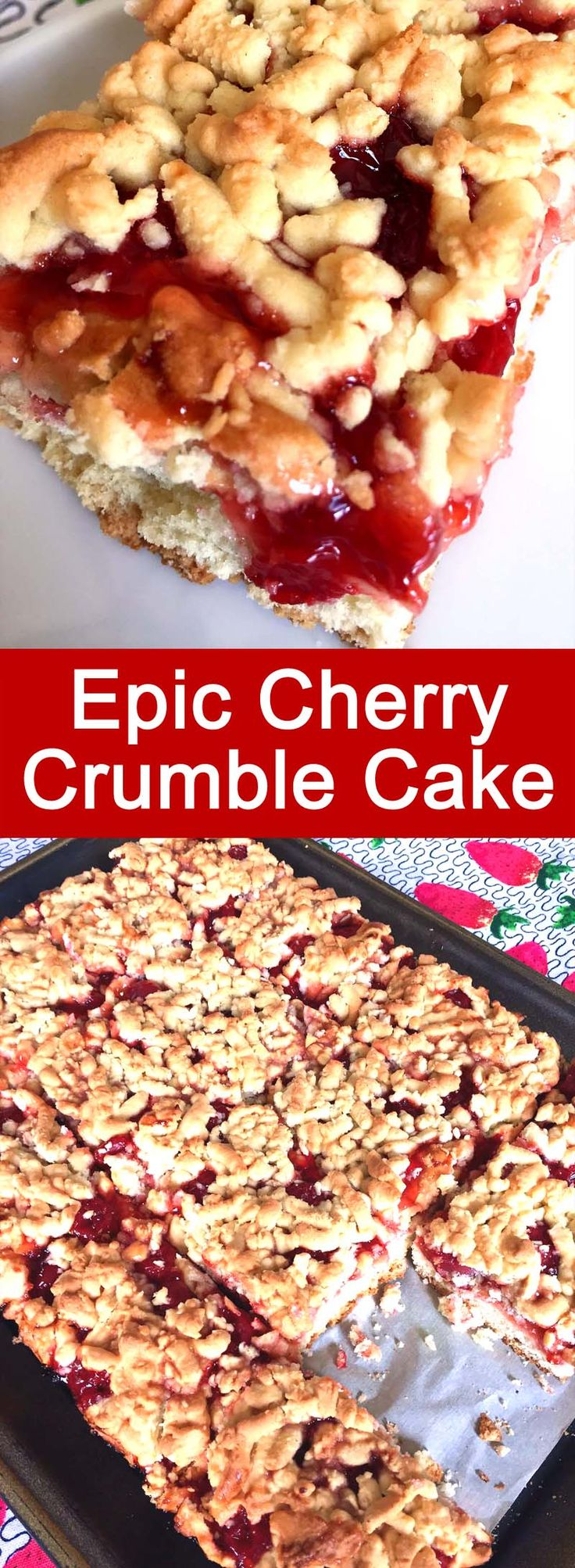 I love this cherry crumble cake! This is a perfect summer cake recipe!  So easy to make and so yummy!
