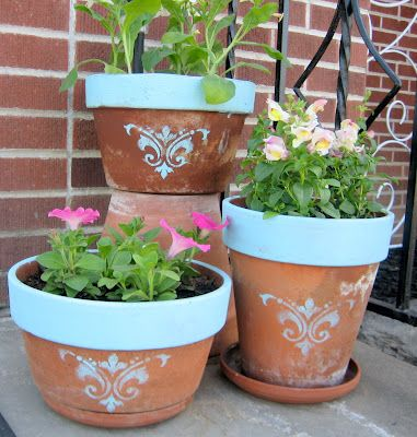 Stencils on terracotta...outdoor trim paint-tinted- and Martha Stewart Stencils@ Home Depot