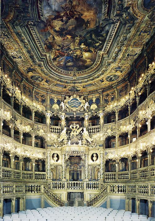 — The Margravial Opera House is a Baroque opera house in the town of Bayreuth, Germany, built between 1744 and 1748 by Joseph Saint-Pierre (de). It is one of Europe's few surviving theatres of the period and has been extensively restored. The interior was designed by Giuseppe Galli Bibiena and his son Carlo of Bologna in the late Baroque style.