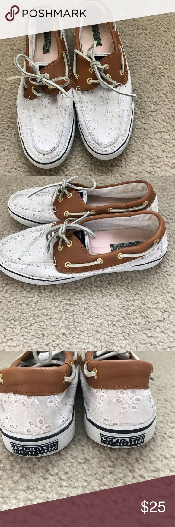 White Sperrys Cute slip on top sider Sperrys. Priced to sell.  These are used.  I took many pictures to show the condition. Lots of love left for these shoes. Sperry Shoes