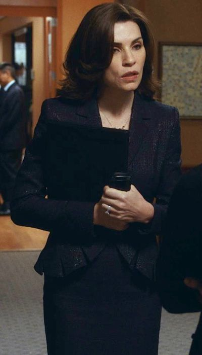 "Navy Escada suit with black and silver metallic thread, in ""The Good Wife Season 5 Outfits, Explained by Costume Designer Daniel Lawson"" - Season 5, Episode 4: from #InStyle"