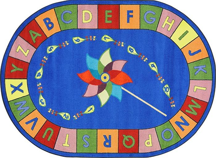 alphabet pinwheel classroom floor carpeted rug with letters and numbers