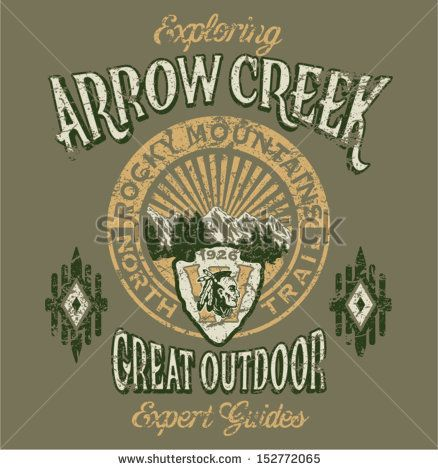Arrow Creek the great outdoor - Vector artwork for boy sportswear - 3 custom colors - Grunge effect in separate layer by ZiaMary, via Shutte...