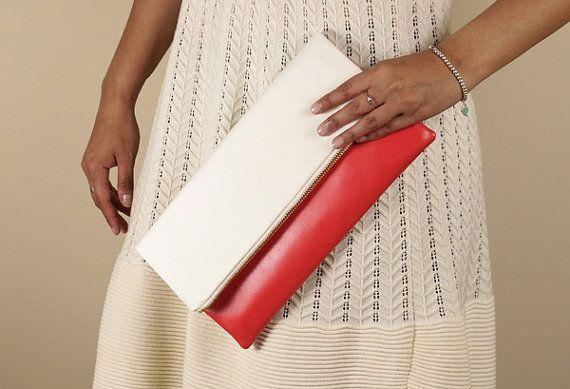 Vegan leather and white canvas foldover clutch, faux leather, zipper clutch, oversized clutch, clutch purse, de almeida designs
