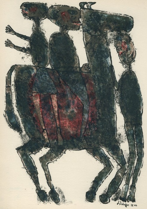 'L'Homme du Commun. Paris: Editions Poésies 44' (The Common Man) by Jean Dubuffet, 1944. Lithograph