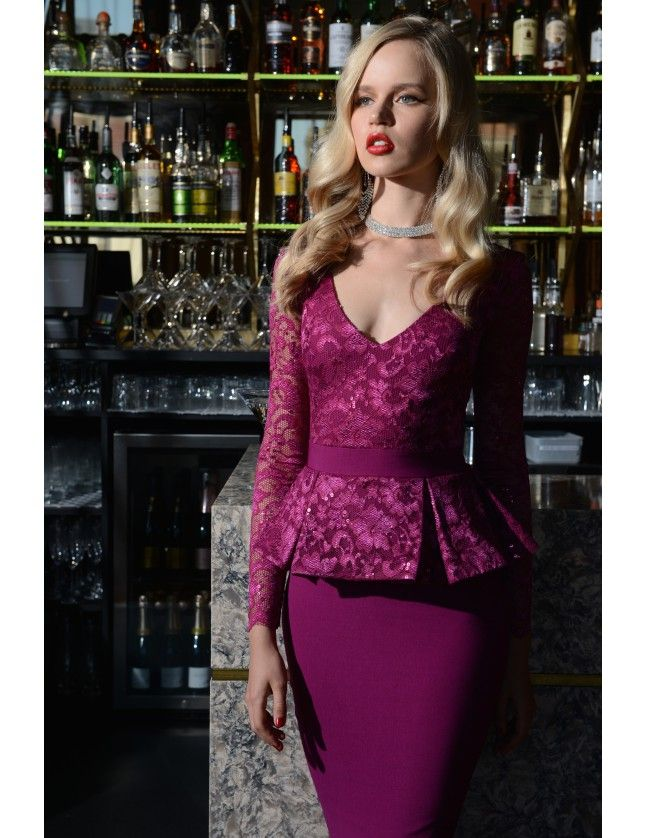 Deep V Neck Sequined Peplum Midi Dress - Magenta - Front - DR355A