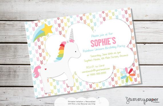 Printable Invitation  Rainbow Unicorn Invitation  by yummyparties, $15.00
