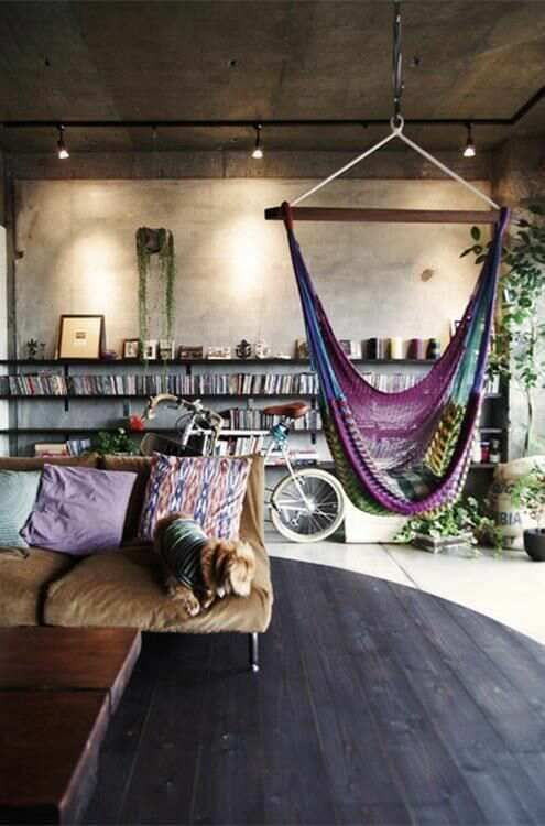 Loooong lower wall shelves AND a hammock chair!