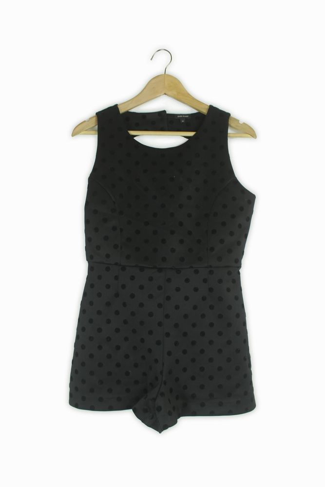 13db0c071e River Island black   velvet polka dot playsuit Size 10  fashion  clothing   shoes  accessories  womensclothing  jumpsuitsrompers (ebay link)