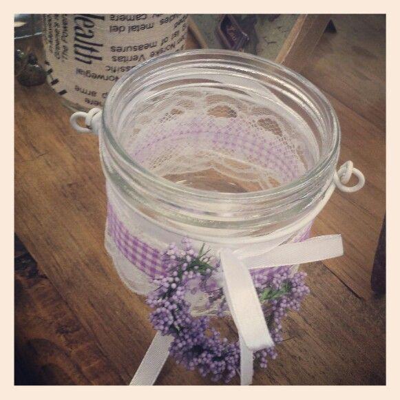 Vintage style glass jar tea light holder with lace, ribbon and a lavender heart. www.teacupsandtrinkets.co.uk