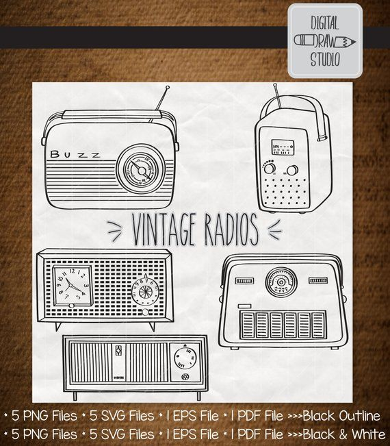 Vintage Radios Hand Drawn Retro Alarm Clock Clip Art Old Radio Outline Drawing Png Eps Pdf Svg Dxf Radio Drawing Vintage Radio Retro Alarm Clock